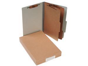 ACCO                                     Pressboard 25-Pt. Classification Folders, Legal, Six-Section, Mist Gray, 10/Box