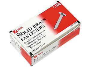 Acco 71505 Brass Prong Paper File Fasteners, 1-1/4 Inch Length, 100/Box