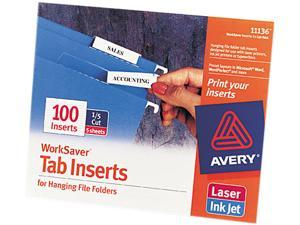 Avery 11136 Printable Inserts for Hanging File Folders, 1/5 Tab, Two Inch, White, 100/Pack