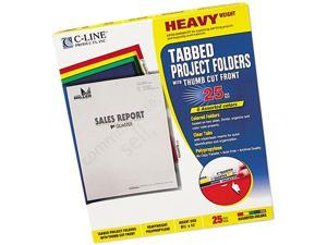 C-line 62140 Heavyweight Tabbed Jacket Project Folders, Letter, Poly, Assorted Colors, 25/Box