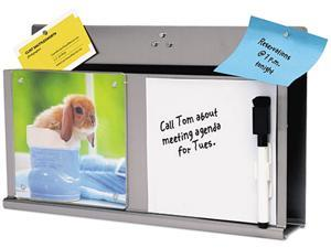 Deflect-o 510010 MyStyle Stainless Steel DocuPocket with White Board, Letter, Silver/White