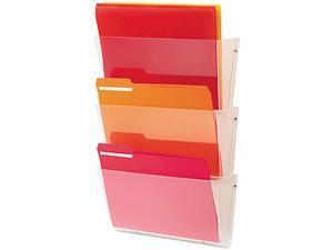 Deflect-o 63601RT Unbreakable Wall File Set, Letter, Three Pocket, Clear