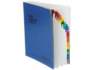 Pendaflex 11015 Expandable Desk File, A-Z Index, Letter Size, Acrylic-Coated PressGuard, Blue