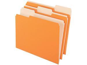 Pendaflex 1521/3ORA Two-Tone File Folders, 1/3 Cut Top Tab, Letter, Orange/Light Orange, 100/Box