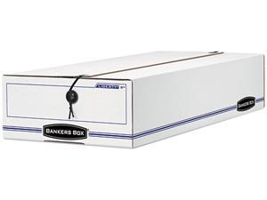 Bankers Box 00009 Liberty Basic Storage Box, Check/Voucher, 9 x 14-1/4 x 4, White/Blue, 12/Carton