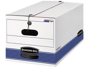 Bankers Box 0070503 Stor/File Storage Box, Legal, String and Button, White/Blue, 4/Carton