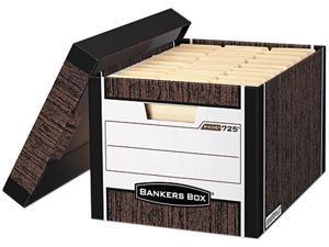 Bankers Box 0072506 R-Kive Max Storage Box, Letter/Legal, Locking Lid, Woodgrain, 4/Carton