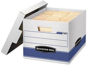 Bankers Box 0078907 Quick/Stor Storage Box, Letter/Legal, Locking Lid, White/Blue, 4/Carton