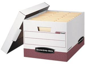 Bankers Box 07242 - R-Kive Max Storage Box, Letter/Legal, Locking Lid, White/Red 12/Carton