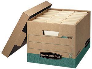 Bankers Box 12775 R-Kive Storage Box, Letter/Legal, Locking Lift-off Lid, Kraft/Green, 12/Carton