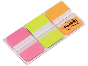 Post-it 686-PGO Durable File Tabs, 1 x 1 1/2, Assorted Fluorescent Colors, 66/Pack