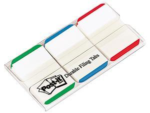 Post-it 686L-GBR Durable File Tabs, 1 x 1 1/2, Striped, Blue/Green/Red, 66/Pack