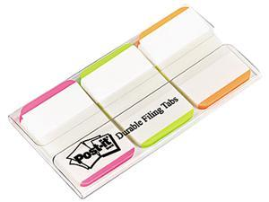 Post-it 686L-PGO Durable File Tabs, 1 x 1 1/2, Striped, Assorted Fluorescent Colors, 66/Pack