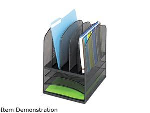 Safco 3266BL Onyx Mesh Desk Organizer, Eight Sections, 11 3/8 x 9 1/2 x 13, Black