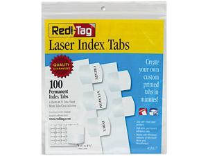 Redi-Tag 33117 Laser Printable Index Tabs, 1 1/8 Inch, White, 100/Pack