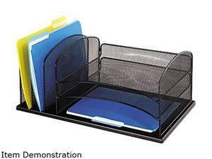 Safco 3254BL Desk Organizer, Six Sections, Steel Mesh, 19 3/8 x 11 3/8 x 8, Black