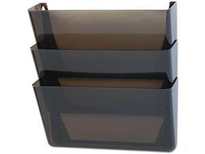 Rubbermaid 47021ROS Stak-A-File Three Pocket Wall File, Letter, Smoke