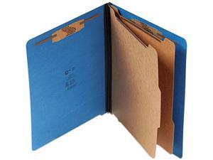 S J Paper S60433 Pressboard End Tab Classification Folder, Letter, Six-Section, Cobalt Blue