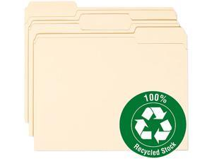 Smead 10339 100% Recycled File Folders, 1/3 Cut, One-Ply Top Tab, Letter, Manila, 100/Box