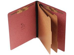 S J Paper S60935 Pressboard End Tab Classification Folder, Letter, Six-Section, Red