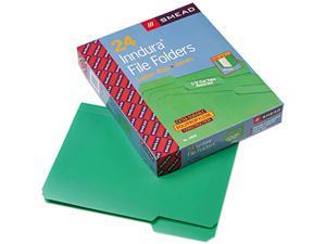 Smead 10502 Waterproof Poly File Folders, 1/3 Cut Top Tab, Letter, Green, 24/Box