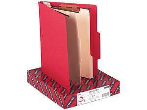 Smead 14003 Top Tab Classification Folders, Two Dividers, Six-Section, Red, 10/Box