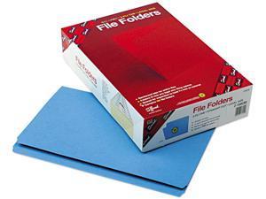 Smead 17010 File Folders, Straight Cut, Reinforced Top Tab, Legal, Blue, 100/Box