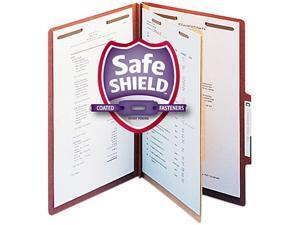 Smead 18775 Pressboard Classification Folders, Self Tab, Legal, Four-Section, Red, 10/Box