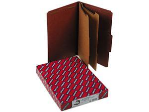 Smead 19075 Pressboard Classification Folders wSelf Tab, Legal, Six-Section, Red, 10/Box