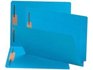 Smead 25040 Two-Inch Capacity Fastener Folders, Straight Tab, Letter, Blue, 50/Box