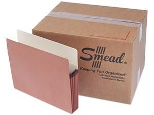 Smead 73810 5 1/4 Inch Expansion File Pocket, Straight Tab, Letter, Manila/Redrope, 50/Box