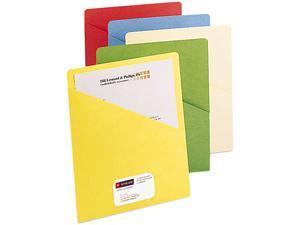 Smead 75425 Slash Pocket Folders, Letter, 11 Point, Blue/Green/Manila/Red/Yellow, 25/Pack