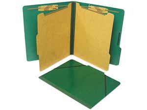 S J Paper S56001 Classification Folios with Fastener, Letter, Six-Section, Forest Green, 10/Box