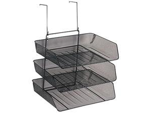 Fellowes 75902 Mesh Partition Additions Three-Tray Organizer, 11 1/8 x 14 x 14 3/4, Black, 1Each