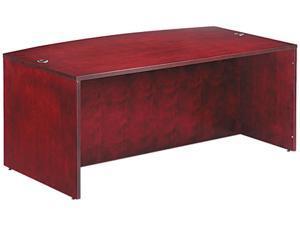 Verona Veneer Series Bow Front Desk Shell, 71w x 41-1/2d x 29-1/2h, Mahogany
