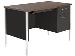 Single Pedestal Steel Desk, Metal Desk, 45-1/4w x 24d x 29-1/2h, Walnut/Black