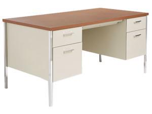 Double Pedestal Steel Desk, Metal Desk, 60w x 30d x 29-1/2h, Cherry/Putty