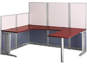 BUSH FURNITURE WC36496-03 Office in an Hour U-Workstation Peninsula, 34-1/4w x 23-7/8d, Hansen Cherry