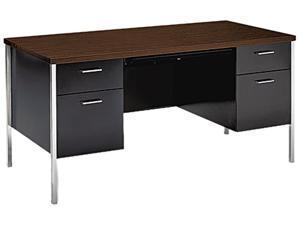 34000 Series Double Pedestal Desk, 60w x 30d x 29-1/2h, Columbian Walnut/Black