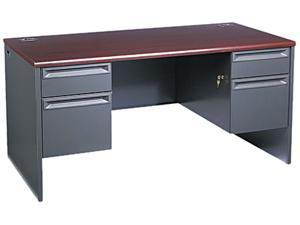 38000 Series Double Pedestal Desk, 60w x 30d x 29-1/2h, Mahogany/Charcoal