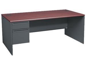 38000 Series Left Pedestal Desk, 72w x 36d x 29-1/2h, Mahogany/Charcoal