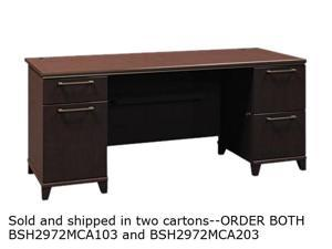 Bush Enterprise Double Pedestal Desk, 70-1/8w x 28-1/2d x 30h, Mocha Cherry, Carton 2