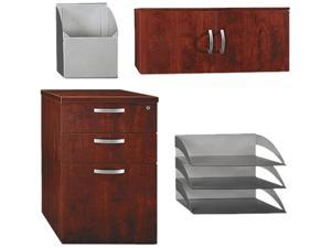 BUSH FURNITURE WC36490-03 Office-In-An-Hour Storage/Accessory Kit, 16w x 20d x 25-5/8h, Hansen Cherry