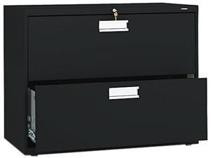 HON 682LP 600 Series Two-Drawer Lateral File, 36w x19-1/4d, Black