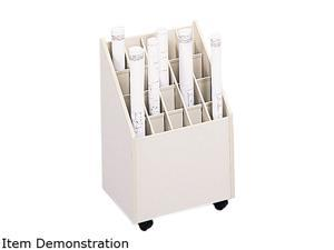Safco 3082 Laminate Mobile Roll Files, 20 Compartments, 15-1/4w x 13-1/8d x 23-1/4h, Putty