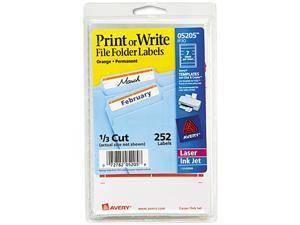 Avery 05205 Print or Write File Folder Labels, 11/16 x 3-7/16, White/Orange Bar, 252/Pack
