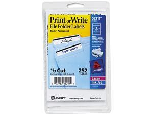 Avery 05211 Print or Write File Folder Labels, 11/16 x 3-7/16, White/Black Bar, 252/Pack