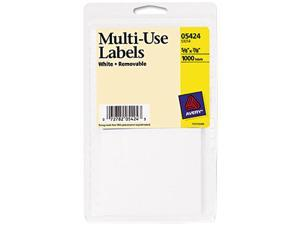 Avery 05424 Self-Adhesive Removable Multi-Use Labels, 5/8 x 7/8, White, 1000/Pack