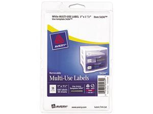 Avery 05434 Print or Write Removable Multi-Use Labels, 1 x 1-1/2, White, 500/Pack