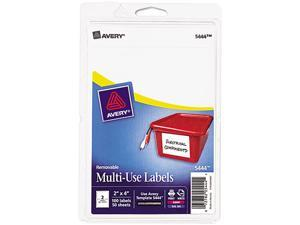 Avery 05444 Print or Write Removable Multi-Use Labels, 2 x 4, White, 100/Pack